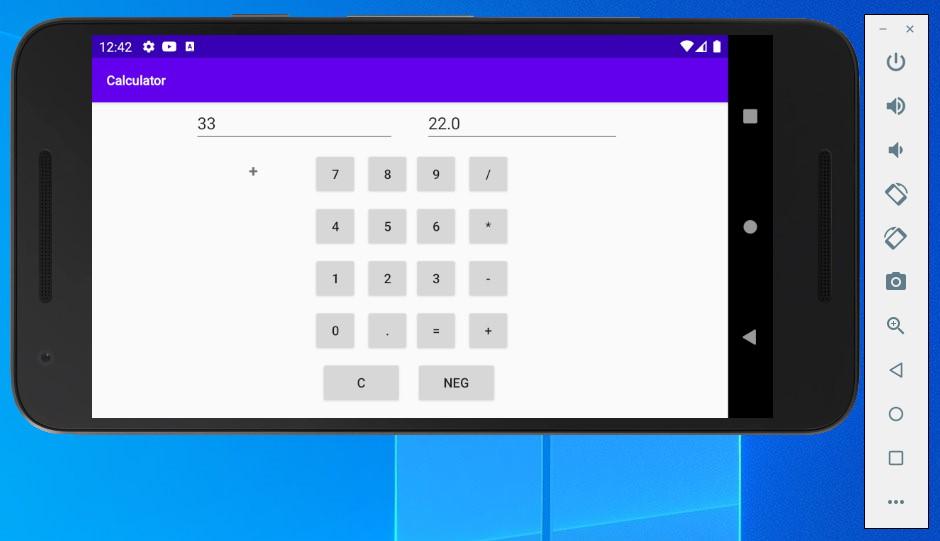 számológép futtatása Android virtuális eszközön, okostelefonon